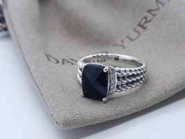David Yurman Sterling Silver Petite Black Onyx & Diamond Wheaton Ring Size 8 - $292.05