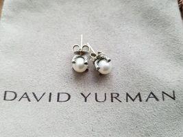 David Yurman Sterling Silver 925 9.5mm Pearl Diamond Stud Earrings - $286.11