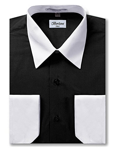 Berlioni Italy Men's Long Sleeve Two Tone Premium Dress Shirt