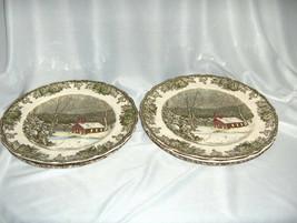 "4 Vintage Johnson Bros China Friendly Village 10"" Dinner Plates School House - $64.35"