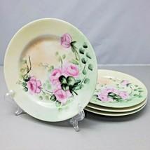 Vintage H & C Selb Heinrich Bavaria 4 Small Plates Pink Rose Pale Green ... - $29.50