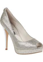 MICHAEL KORS York Silver Glitter Platform Peep-Toe Pump Size 9 $130.00 - $59.99
