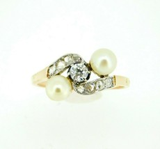 18k Yellow Gold Victorian Pearl and Diamond Ring (#J4487) - $950.00