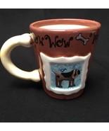 Dog Coffee Mug Cup Collectible Dog Bone Handle Framed Handpainted Art Wo... - $24.74