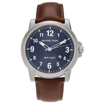 Michael Kors Men's Watch Stainless Steel Case Leather Band Blue Dial MK8501 - $215.99