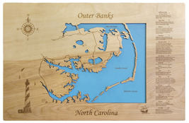 Outer Banks, North Carolina - Wood Laser Cut Map - Wall Hanging - $199.99+