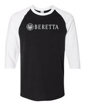 Beretta Script White Logo Raglan Baseball T Shirt Pro Gun Rights New Bla... - $19.79+