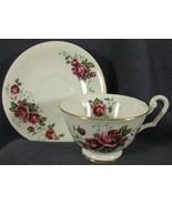 Clarence Bone China Footed Tea Cup & Saucer Set 734-09 Roses England - $19.95
