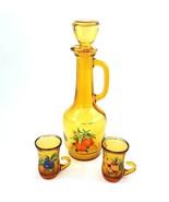 Vintage Amber Glass Juice Decanter Carafe 2 Drinking Glasses Fruit Motif... - £28.66 GBP