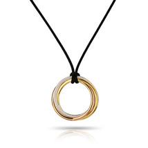 Cartier Trinity 18K Gold Tri Color Large Pave Diamond Pendant On A Cord Necklace - $11,200.00