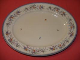 "Rosenthal Oval Platter 12 7/8"" Blue Gray Trim Multicolor Flowers Pink Orange - $19.95"