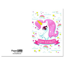 Pink Unicorn Birthday Card --- with Custom Handwritten Message - mailed ... - $2.23