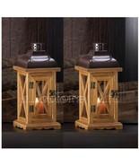 Set Of 2 Hayloft Small Wooden Candle Lantern - $34.95