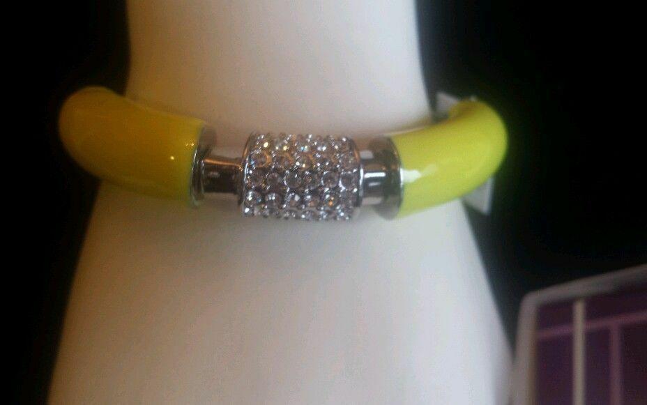NWT $98 Lia Sophia STRETCH BRACELET YELLOW Citron Technicolor Crystal Bangle