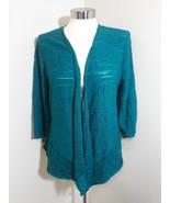 $69.5 Alfani Draped Asymmetrical Cardigan Teal Shimmer XL - $42.56