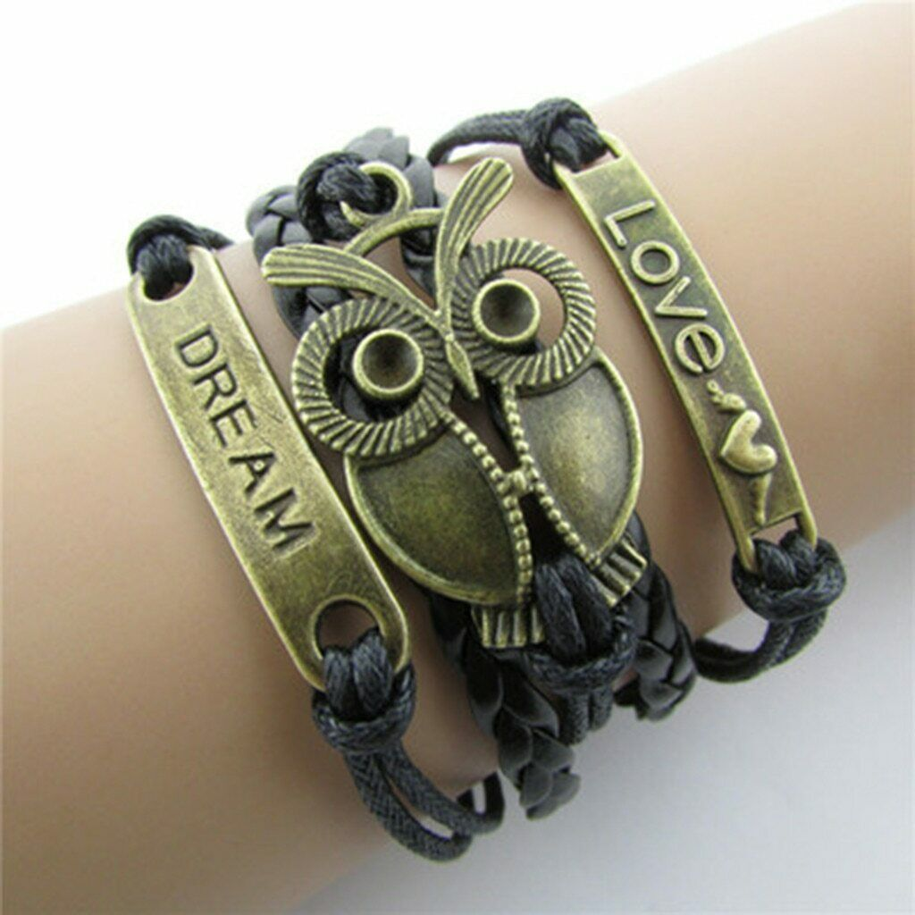 Primary image for Bracelet Ladies Jewelry High Vintage Ethnic Style Handwoven Owl LOVE Confession