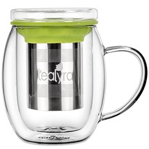 Tealyra - Venus Glass Cup Infuser - Double Wall Glass Tea Cup with Lid a... - £21.91 GBP