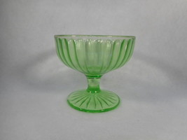 Vintage Green Depression Vaseline Glass Footed Sherbert - $10.10