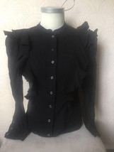 steampunk French Connection Black Ruffle Top 10, button front, frills. - $33.06