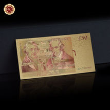 WR Set of Color Gold UK Banknotes 5 Pound - 50 Pounds British Polymer Note Gifts image 5