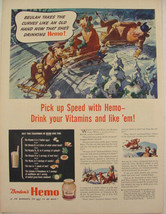 1944 Borden's Dairy Ad ELSIE Beulah & Elmer SNOW SLEDDING Winter Artwork - $9.99