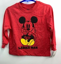 Disney Mickey Mouse Red Ladies Man Long Sleeve Shirt Size 18 months New - $9.25