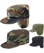 Winter Military Fatigue Hat with Ear Flaps Fitted, Camo Tactical Warm Pa... - $10.99