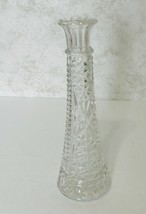 Anchor Hocking Stars and Bars Pattern Clear Bud Vase 9 Inches Scalloped... - $14.73