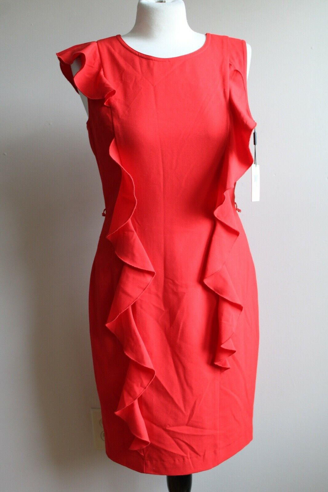Primary image for NWT Calvin Klein 6 Poppy Red Cascading Ruffles Sleeveless Tank Sheath Dress