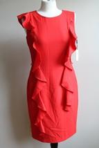 NWT Calvin Klein 6 Poppy Red Cascading Ruffles Sleeveless Tank Sheath Dress - $32.30