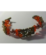 vintage faceted Glass & rhinestone Wired Floral Toggle bracelet