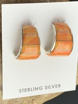 Native American Navajo Sterling Silver Orange Spiny Oyster Earrings Set 190 - $108.90