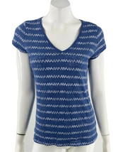 Aeropostale Top Large Blue White Burnout V Neck Fitted Tee Shirt Womens - $9.90