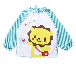 Cotton Cute Cartoon Lion Baby Bib Kids Painting Smock BLUE (100-120CM Height)