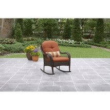 Rocking Chair Seat Brown Rust Resistant Steel Frame Outdoor Garden Furni... - $146.83