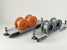 Lionel Postwar 6561 Cable Flatcar With Original Reels Orange Grey Set Of 2 - $49.49