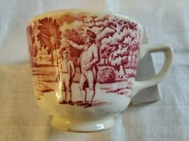 Staffordshire Benjamin Franklin Coffee Tea Cup Mug Pink Red Transferware Antique - $29.70