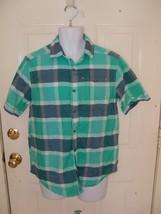 S EAN John Short Sleeve Button Front Plaid Shirt Size M Men's Euc - $18.17