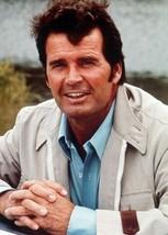 James Garner smiling pose in white zip jacket The Rockford Files 5x7 inc... - $5.75