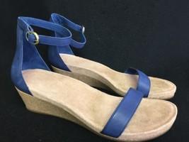 UGG Australia Emilia Wedge Ankle Strap SANDALS Marine 12 Leather Cork 1016765 - $79.99
