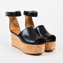 "Givenchy NIB Black Leather Cork Wedge ""Shark"" Ankle Strap Sandal SZ 39 - $605.00"