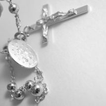 18K WHITE GOLD BIG ROSARY NECKLACE MIRACULOUS MARY MEDAL JESUS CROSS ITALY MADE image 3