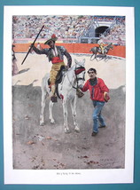 BULLFIGHT ARENA Picador with Spear on Horse - SPAIN VICTORIAN Era Print - $13.05