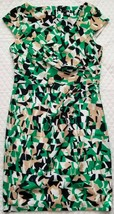 Ann Taylor Sz 8 Geometric Bodycon Fitted Dress Cap Sleeve Back Vent Lined - $27.71