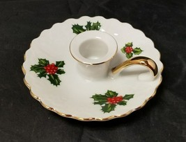 "Lefton China Candlestick Holder: Christmas Holly, 7945, White w/ Gold Trim, 4.5"" - $13.07"