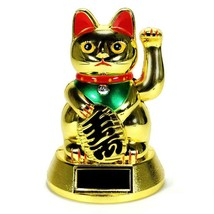 SOLAR POWER BECKONING CAT Gold Lucky Waving Kitty Maneki Neko Wealth For... - $8.26