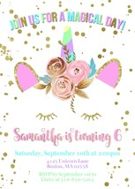 PRINTABLE Whimsical Unicorn Birthday or Baby Shower Invitation Personalized - £7.55 GBP