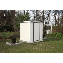 Storage Shed 6 x 5 Galvanized Steel Cream Charcoal Trim Low Gable Outdoo... - $265.59