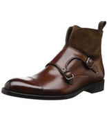New Men's Stylish Handmade Double Monk Strap Boot In Suede & Leather - $169.99