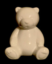 White Sitting Teddy Bear Bank with Stopper ceramic  4 1/4 in. tall - $12.86